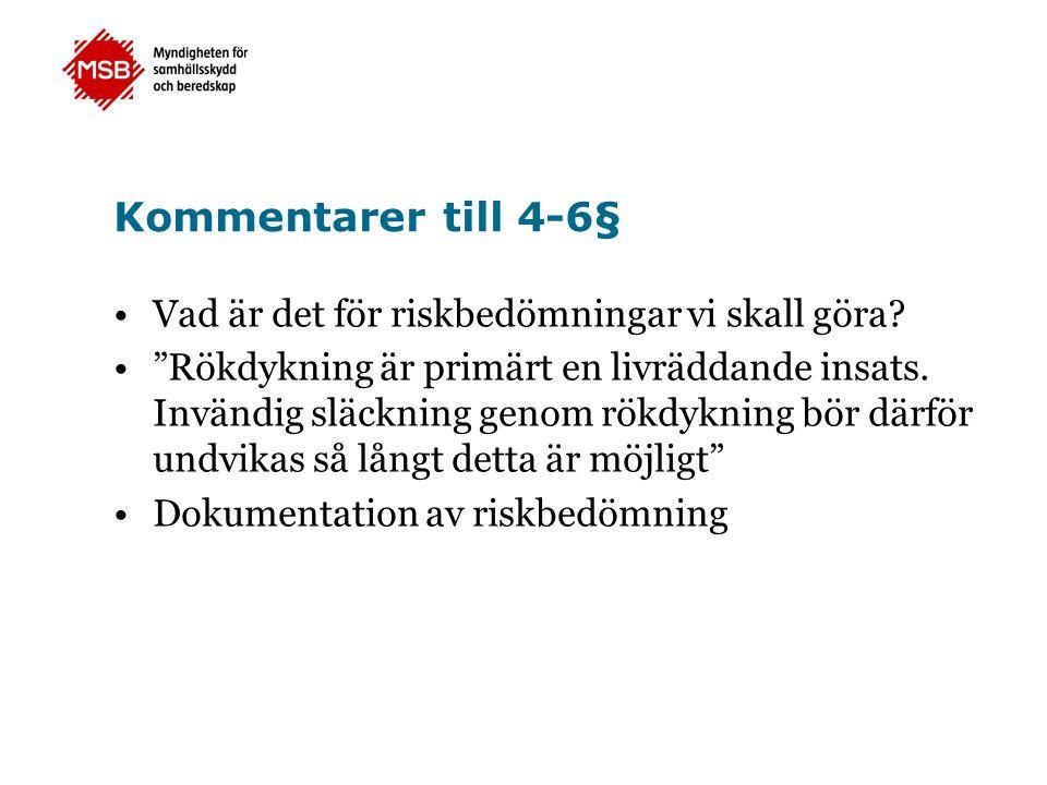 Kommentarer till 4-6§ Vad är det för riskbedömningar vi skall göra.