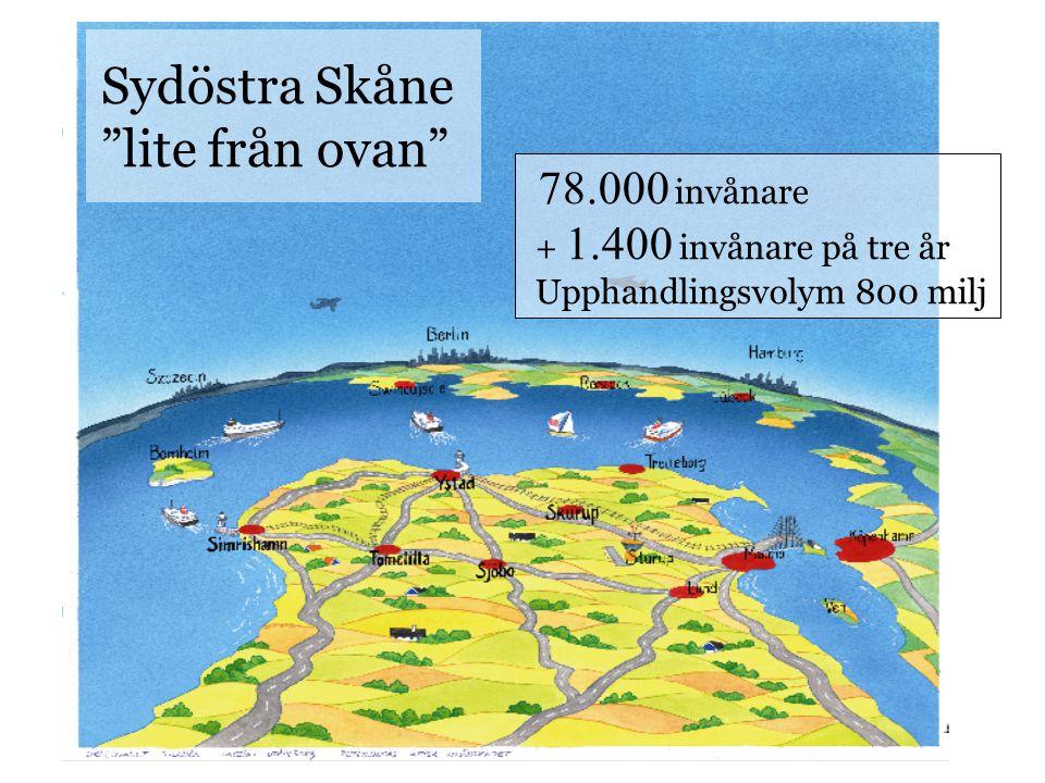 """Sydöstra Skåne """"lite från ovan"""" 78.000 invånare + 1.400 invånare på tre år Upphandlingsvolym 800 milj"""