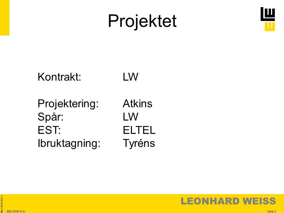 LEONHARD WEISS Seite 2 MA FB5273DE-2 GB3/GOB-S/tbr Projektet Kontrakt:LW Projektering:Atkins Spår:LW EST:ELTEL Ibruktagning:Tyréns