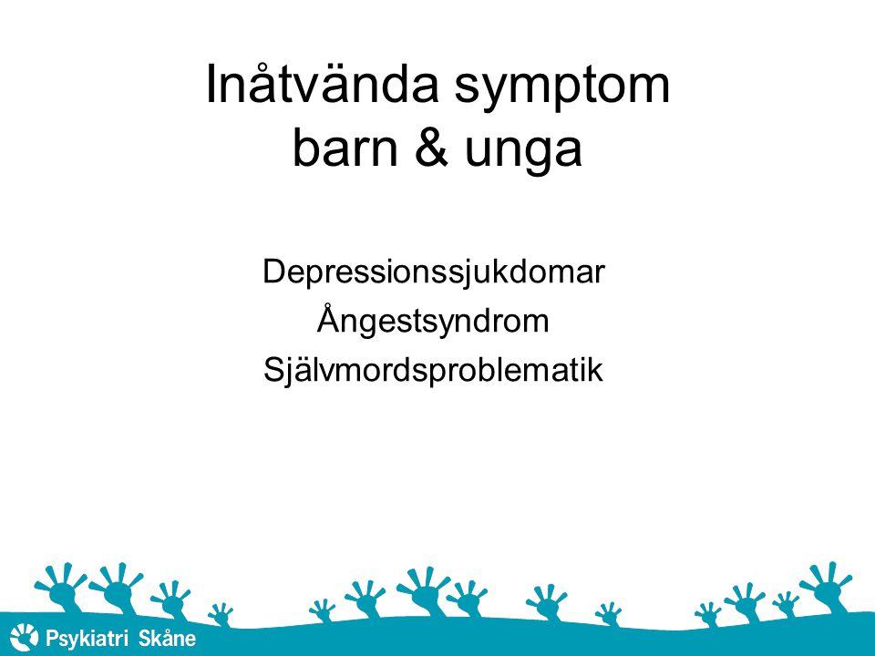 Behandlingsförslag Depressiva symtom: Stöd, uppföljning, ev psykosocial intervention Information, kunskap Lätt depression: KBT i grupp eller individuellt Terapi vid lätta – måttliga depressioner - familjen, barnet, tonåringen