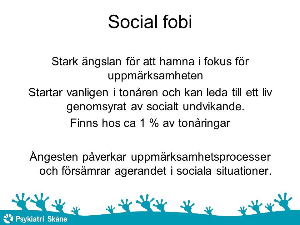 Social fobi Stark ängslan för att hamna i fokus för uppmärksamheten Startar vanligen i tonåren och kan leda till ett liv genomsyrat av socialt undvikande.