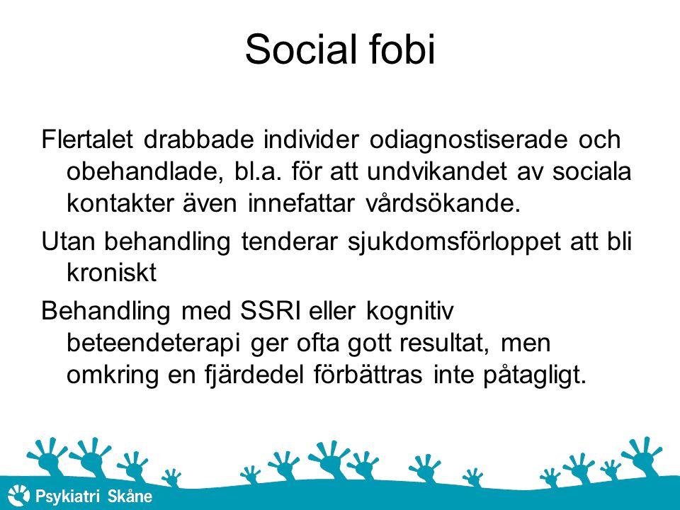 Social fobi KBT i grupp samt Social effectiveness therapy for children (SET-C) har visat lovande resultat vid behandling av unga personer med social fobi I genomsnitt blir ca 60 procent av barn och ungdomar förbättrade på ett kliniskt betydelsefullt sätt av KBT