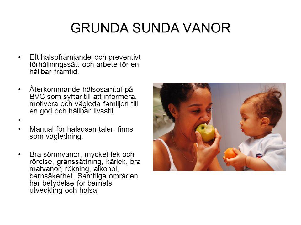GRUNDA SUNDA VANOR Ett hälsofrämjande och preventivt förhållningssätt och arbete för en hållbar framtid. Återkommande hälsosamtal på BVC som syftar ti