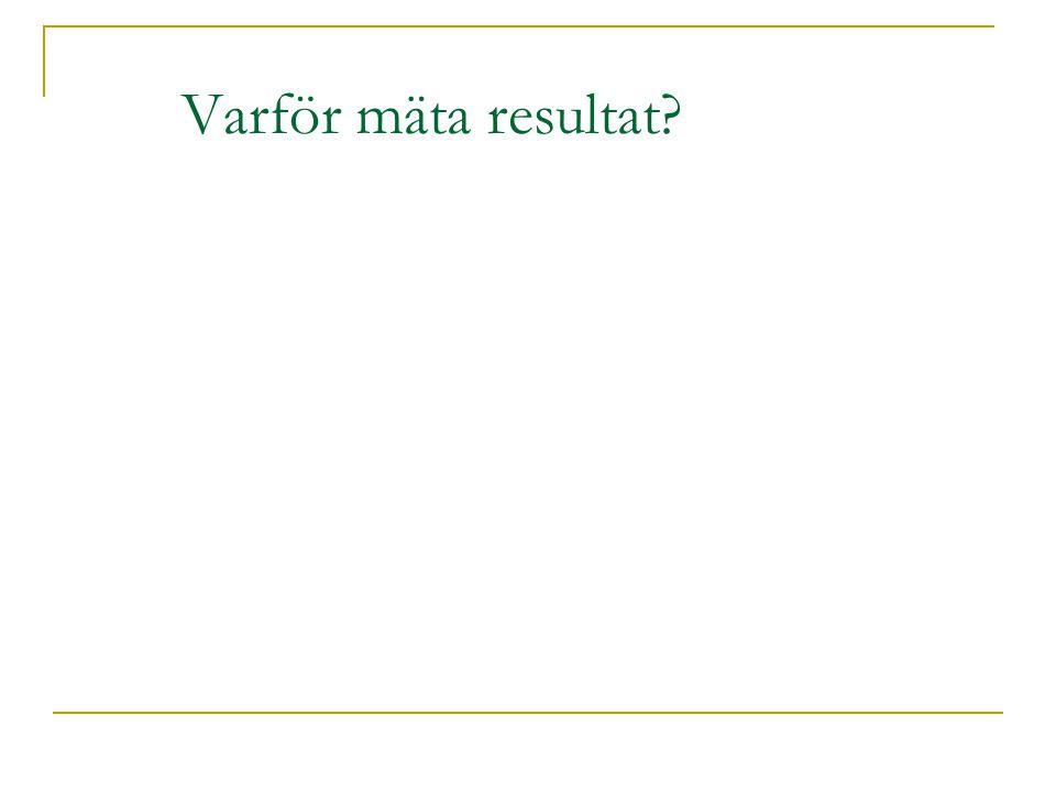 Varför mäta resultat?