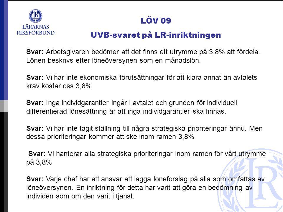 LÖV 09 UVB-svaret på LR-inriktningen Svar: Arbetsgivaren bedömer att det finns ett utrymme på 3,8% att fördela.