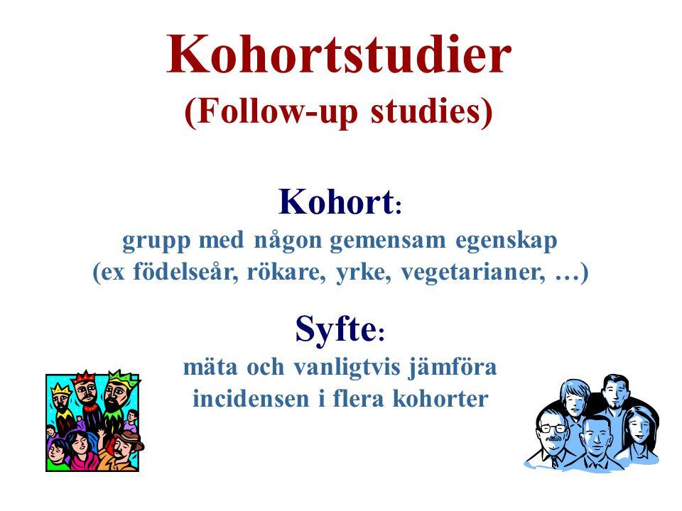 Kohortstudier (Follow-up studies) Kohort : grupp med någon gemensam egenskap (ex födelseår, rökare, yrke, vegetarianer, …) Syfte : mäta och vanligtvis