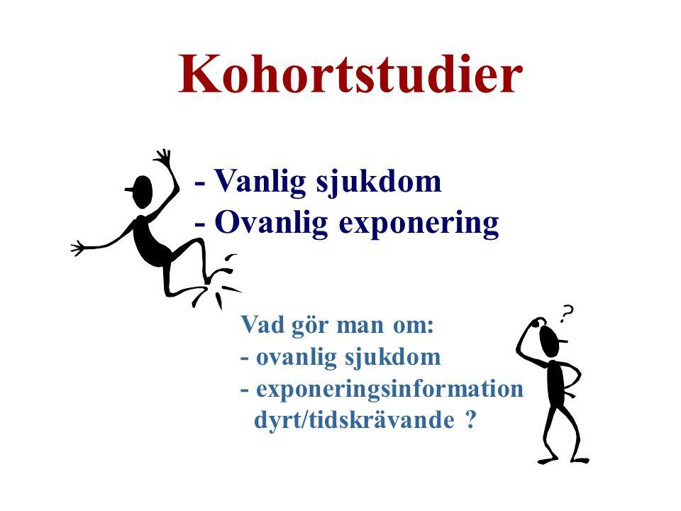 Kohortstudier - Vanlig sjukdom - Ovanlig exponering Vad gör man om: - ovanlig sjukdom - exponeringsinformation dyrt/tidskrävande ?