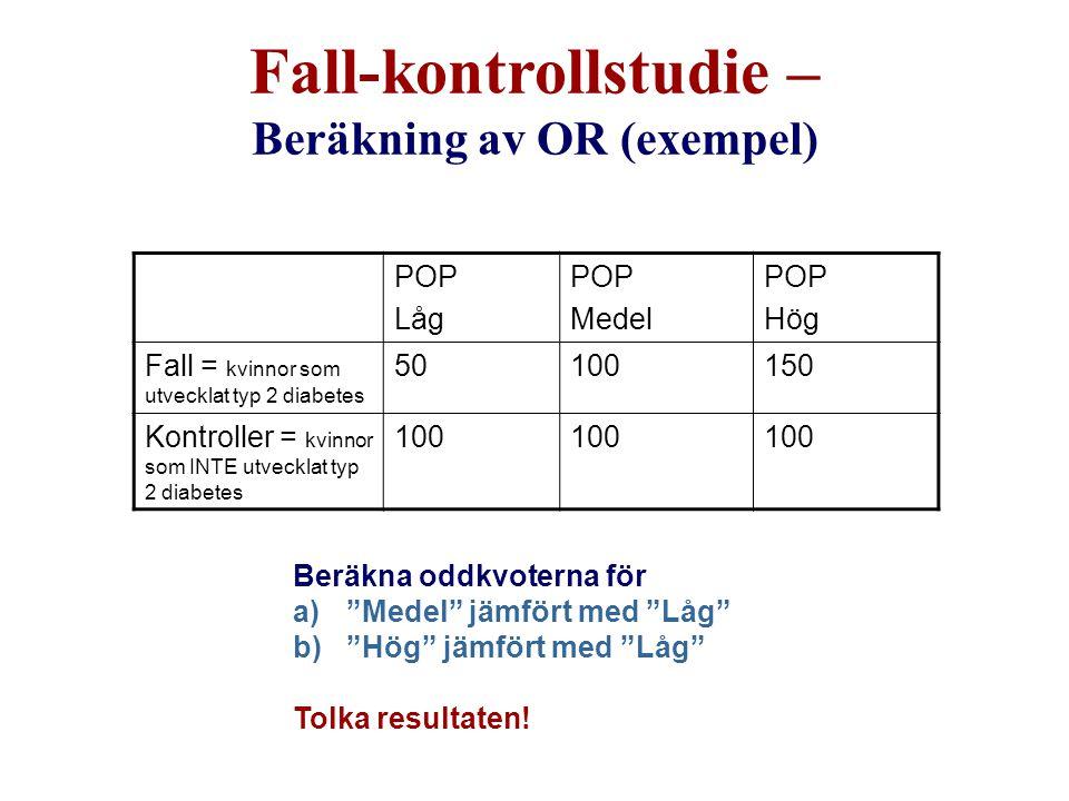"""Beräkna oddkvoterna för a)""""Medel"""" jämfört med """"Låg"""" b)""""Hög"""" jämfört med """"Låg"""" Tolka resultaten! POP Låg POP Medel POP Hög Fall = kvinnor som utvecklat"""