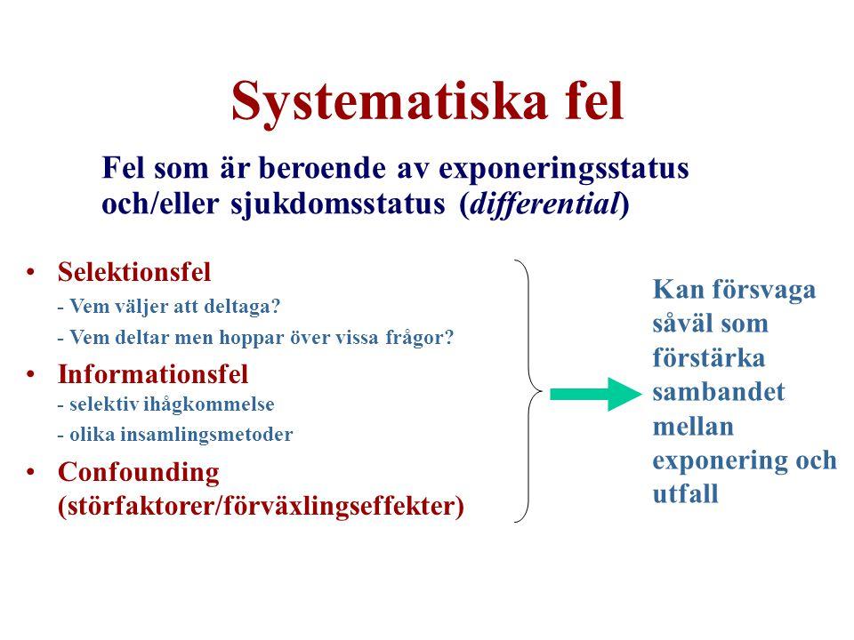 Systematiska fel Fel som är beroende av exponeringsstatus och/eller sjukdomsstatus (differential) Kan försvaga såväl som förstärka sambandet mellan exponering och utfall Selektionsfel - Vem väljer att deltaga.
