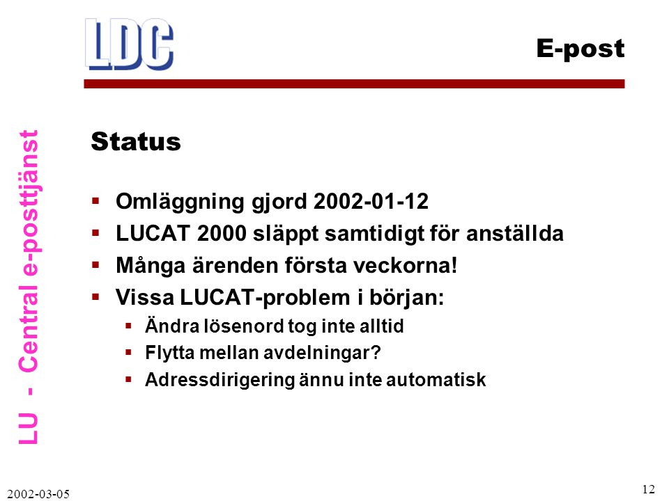 LU - Central e-posttjänst E-post 2002-03-05 12  Omläggning gjord 2002-01-12  LUCAT 2000 släppt samtidigt för anställda  Många ärenden första veckorna.