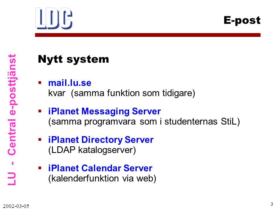LU - Central e-posttjänst E-post 2002-03-05 4 Flera vägar att komma åt e-post:  POP – Eudora, Outlook m fl (som tidigare)  IMAP – post kan sparas i mappar på centrala servern (Eudora, Outlook m fl)  Webmail – vanlig webbläsare används  Men gräns för hur mycket post som kan sparas centralt … iPlanet Messaging Server