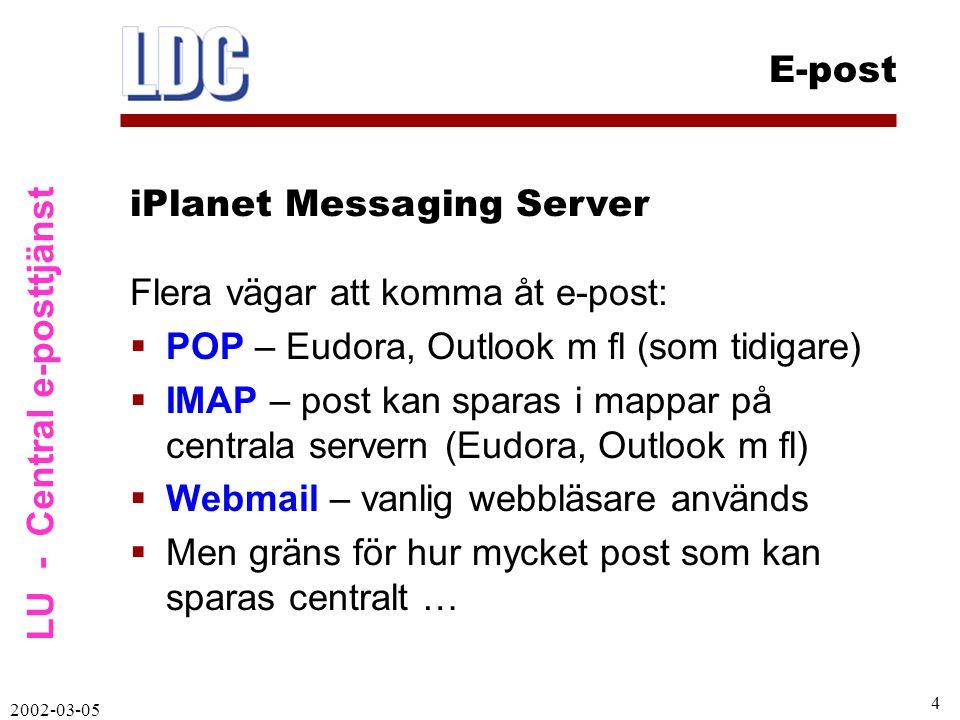 LU - Central e-posttjänst E-post 2002-03-05 5  Andra funktioner:  Kan själv styra semestermeddelande  Flera funktioner styrs via LUCAT 2000 (lösenord, vidaresändning)  iPlanet leverantör: Sun  Många universitet/högskolor väljer iPlanet- system iPlanet Messaging Server