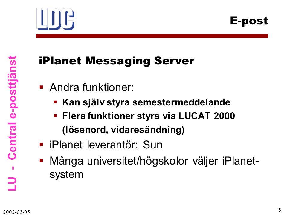 LU - Central e-posttjänst E-post 2002-03-05 6  LDAP är central databas med användare  LUCAT har blivit ännu viktigare  LUCAT styr innehåll i LDAP och mail.lu.se  Person måste finnas i LUCAT för att få e-postkonto på ny server  När person tas bort ur LUCAT så tas e-postkonto också bort  LUCAT leverantör: Globecom, Lund Koppling LUCAT – LDAP – e-post
