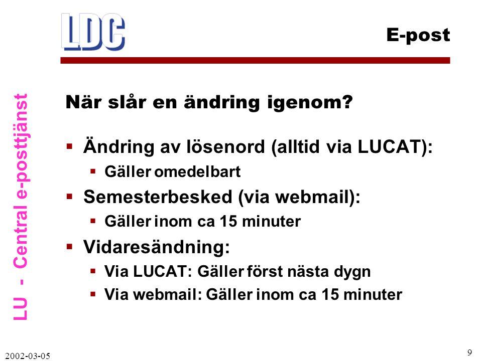 LU - Central e-posttjänst E-post 2002-03-05 10 Samma användarnamn/lösenord används vid behörighetskontroll för inloggning:  LUCAT  Centralt e-postsystem  Netlogon, inloggning mot nätet  UBs databaser och e-tidskrifter  VPN-inloggning (för att hamna inom lu.se)  RAS modem (LUs modempool)  Andra typer av inloggning Tjänster via LUCAT – LDAP