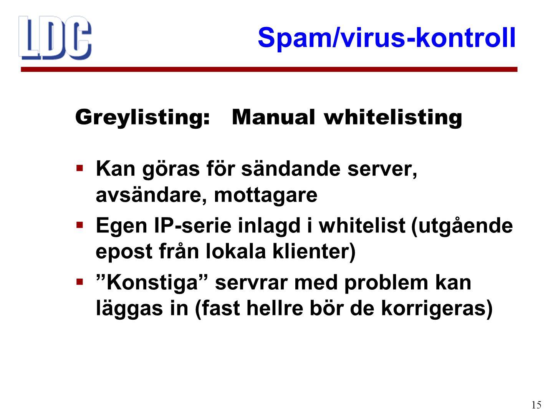 Spam/virus-kontroll 15  Kan göras för sändande server, avsändare, mottagare  Egen IP-serie inlagd i whitelist (utgående epost från lokala klienter)