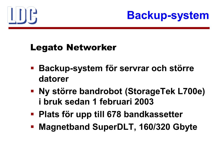 Backup-system  Backup-system för servrar och större datorer  Ny större bandrobot (StorageTek L700e) i bruk sedan 1 februari 2003  Plats för upp til
