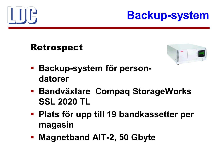 Backup-system  Finns även Apple-server med fristående bandstationer DLT4000 (20/40 Gbyte)  Används för Apple-klienter Retrospect
