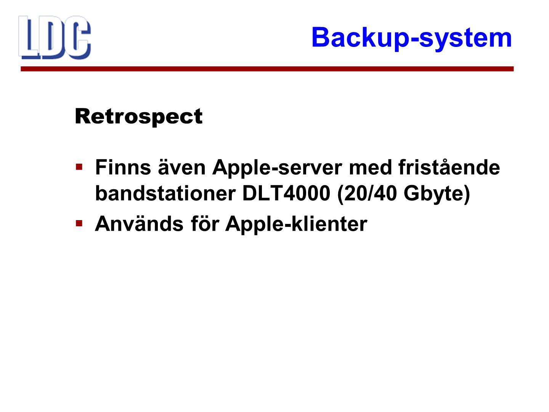 Backup-system  Differentierad taxa efter datamängd  Backup tas ej på hel disk Retrospect - planer
