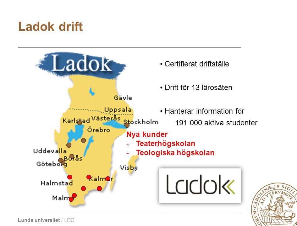 Lunds universitet / LDC Certifierat driftställe Drift för 13 lärosäten Hanterar information för 191 000 aktiva studenter Ladok drift Nya kunder -Teate