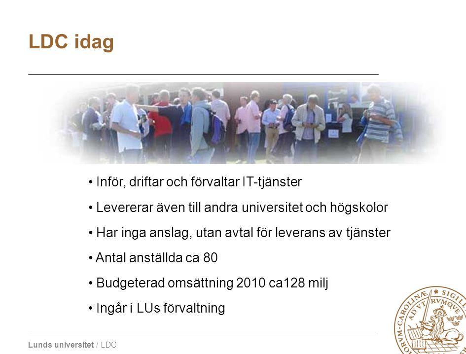 Lunds universitet / LDC Inför, driftar och förvaltar IT-tjänster Levererar även till andra universitet och högskolor Har inga anslag, utan avtal för l