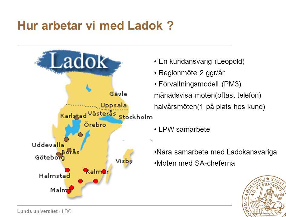 Lunds universitet / LDC En kundansvarig (Leopold) Regionmöte 2 ggr/år Förvaltningsmodell (PM3) månadsvisa möten(oftast telefon) halvårsmöten(1 på plat