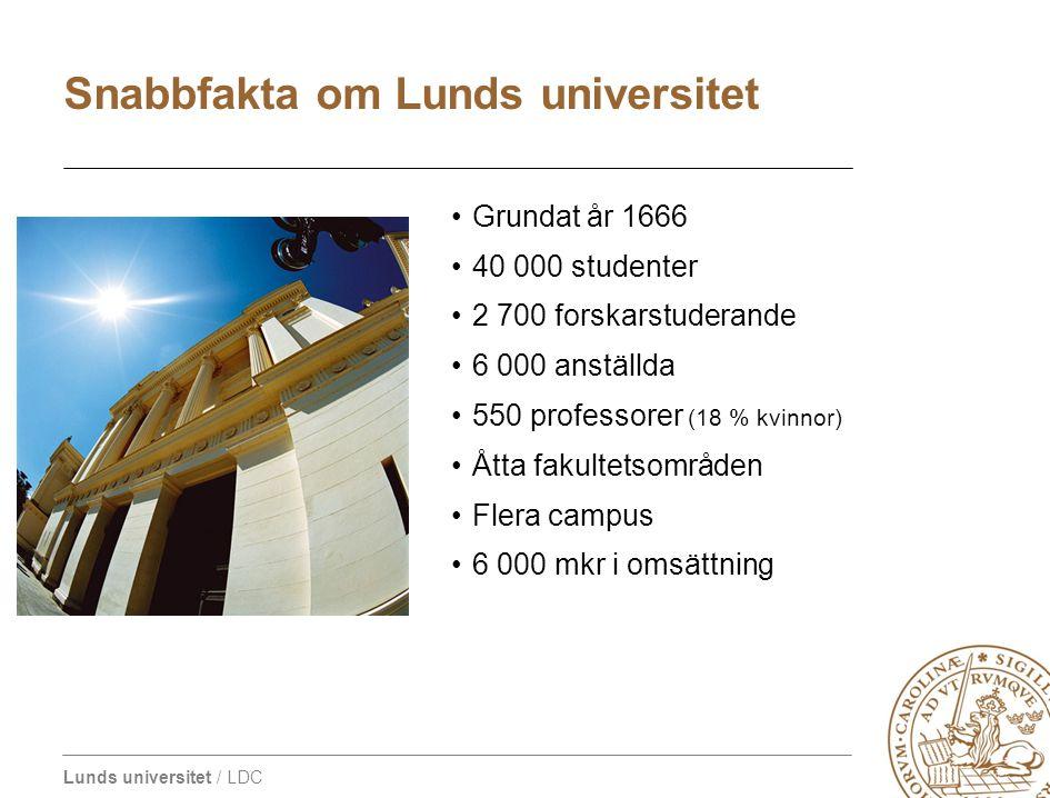 Lunds universitet / LDC Grundat år 1666 40 000 studenter 2 700 forskarstuderande 6 000 anställda 550 professorer (18 % kvinnor) Åtta fakultetsområden