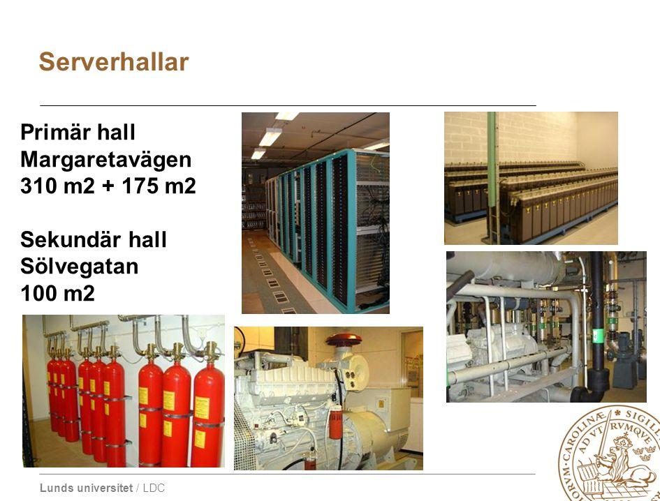 Lunds universitet / LDC Serverhallar Primär hall Margaretavägen 310 m2 + 175 m2 Sekundär hall Sölvegatan 100 m2