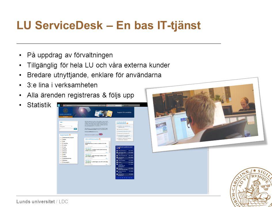Lunds universitet / LDC På uppdrag av förvaltningen Tillgänglig för hela LU och våra externa kunder Bredare utnyttjande, enklare för användarna 3:e li