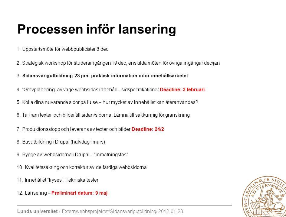 Lunds universitet / Externwebbsprojektet/Sidansvarigutbildning/ 2012-01-23 Processen inför lansering 1. Uppstartsmöte för webbpublicister 8 dec 2. Str