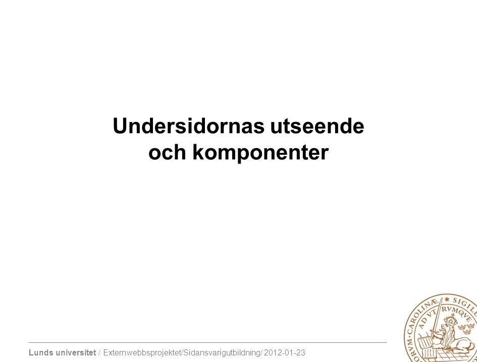 Lunds universitet / Externwebbsprojektet/Sidansvarigutbildning/ 2012-01-23 Undersidornas utseende och komponenter
