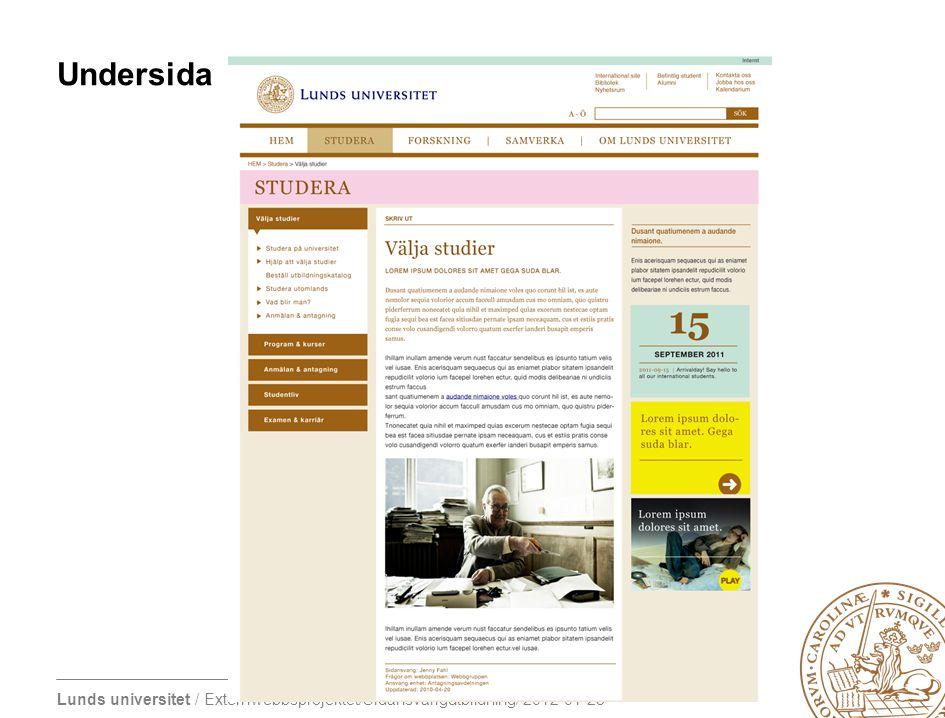 Lunds universitet / Externwebbsprojektet/Sidansvarigutbildning/ 2012-01-23 Undersida