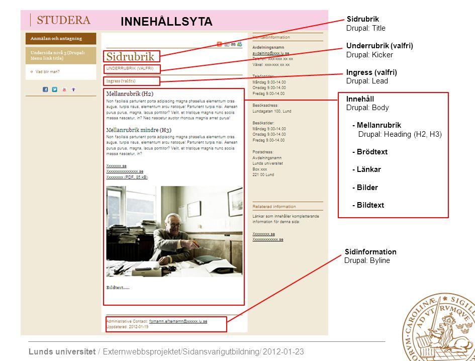 Lunds universitet / Externwebbsprojektet/Sidansvarigutbildning/ 2012-01-23 Sidrubrik Drupal: Title Underrubrik (valfri) Drupal: Kicker Ingress (valfri