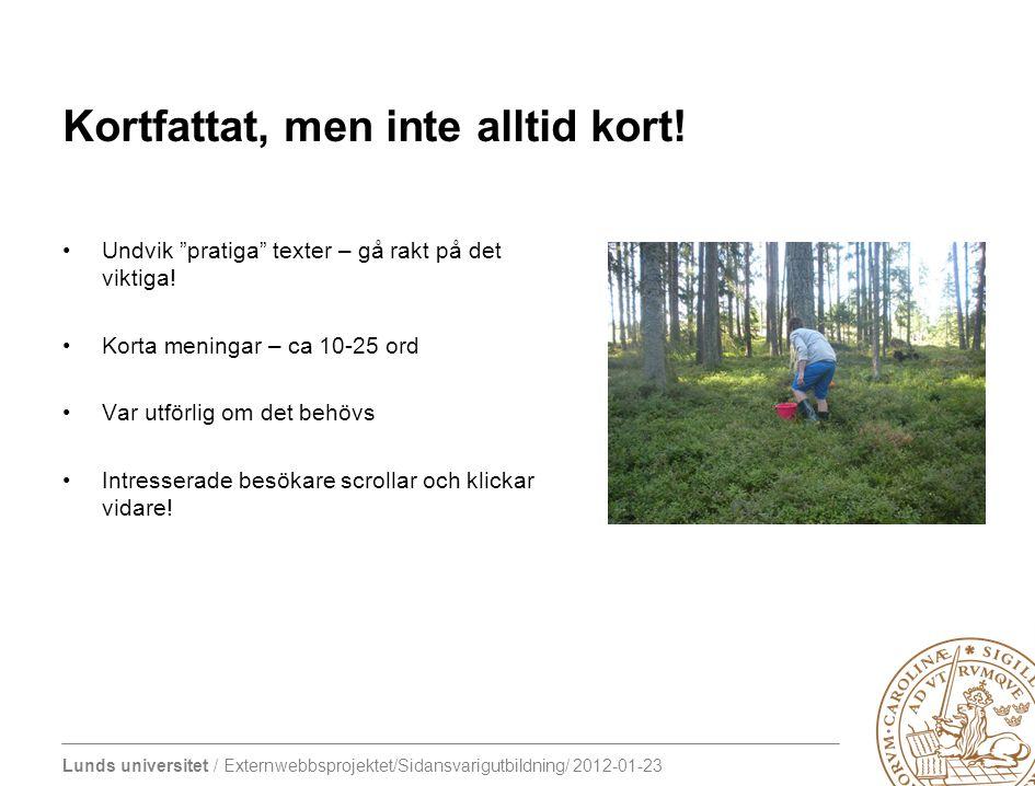 """Lunds universitet / Externwebbsprojektet/Sidansvarigutbildning/ 2012-01-23 Kortfattat, men inte alltid kort! Undvik """"pratiga"""" texter – gå rakt på det"""