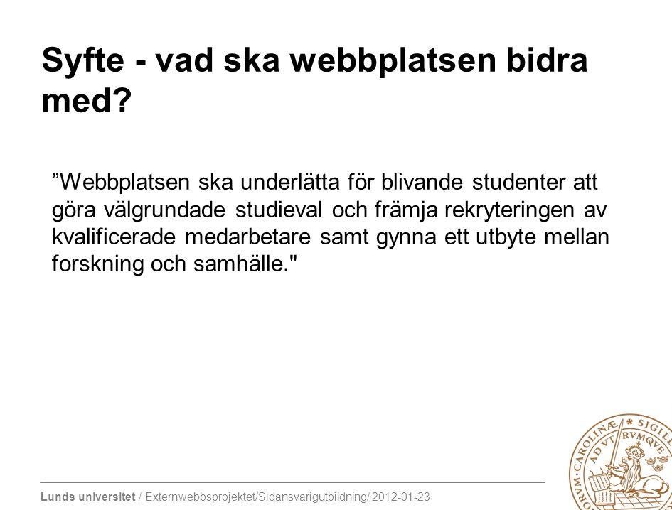 """Lunds universitet / Externwebbsprojektet/Sidansvarigutbildning/ 2012-01-23 Syfte - vad ska webbplatsen bidra med? """"Webbplatsen ska underlätta för bliv"""