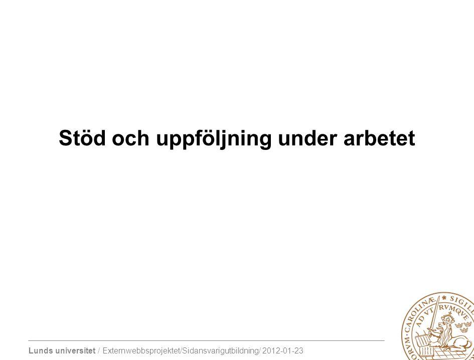 Lunds universitet / Externwebbsprojektet/Sidansvarigutbildning/ 2012-01-23 Stöd och uppföljning under arbetet