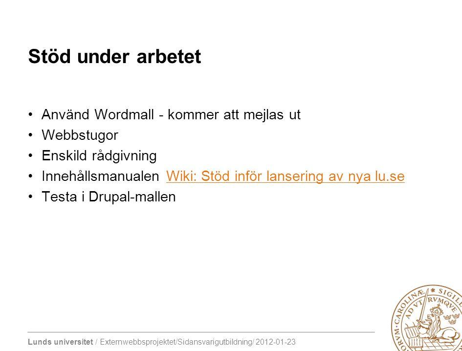 Lunds universitet / Externwebbsprojektet/Sidansvarigutbildning/ 2012-01-23 Stöd under arbetet Använd Wordmall - kommer att mejlas ut Webbstugor Enskil
