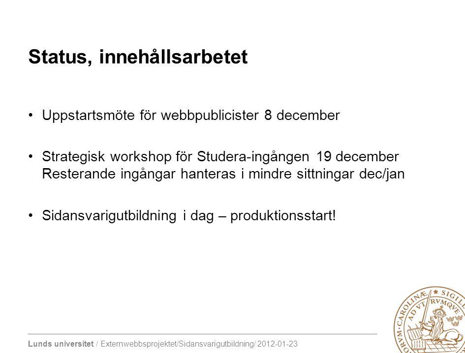 Lunds universitet / Externwebbsprojektet/Sidansvarigutbildning/ 2012-01-23 Status, innehållsarbetet Uppstartsmöte för webbpublicister 8 december Strat