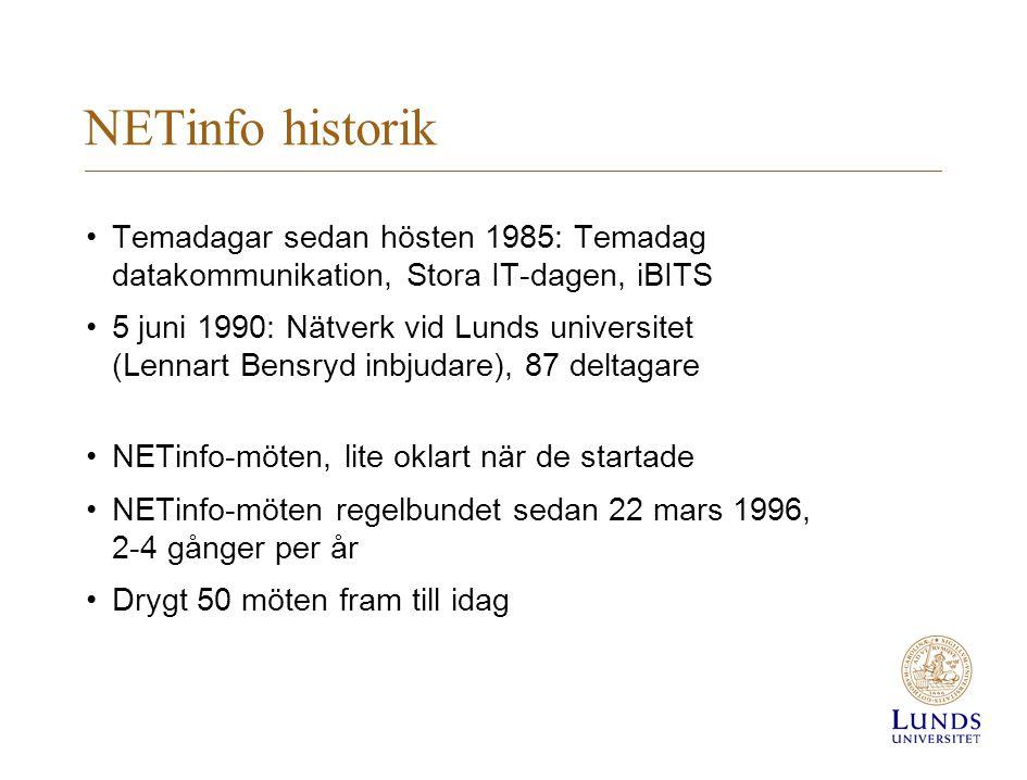 NETinfo historik Temadagar sedan hösten 1985: Temadag datakommunikation, Stora IT-dagen, iBITS 5 juni 1990: Nätverk vid Lunds universitet (Lennart Bensryd inbjudare), 87 deltagare NETinfo-möten, lite oklart när de startade NETinfo-möten regelbundet sedan 22 mars 1996, 2-4 gånger per år Drygt 50 möten fram till idag