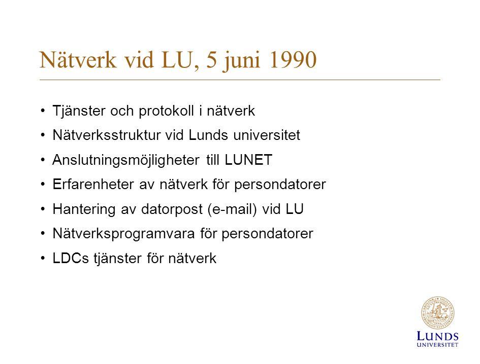Nätverk vid LU, 5 juni 1990 Tjänster och protokoll i nätverk Nätverksstruktur vid Lunds universitet Anslutningsmöjligheter till LUNET Erfarenheter av nätverk för persondatorer Hantering av datorpost (e-mail) vid LU Nätverksprogramvara för persondatorer LDCs tjänster för nätverk