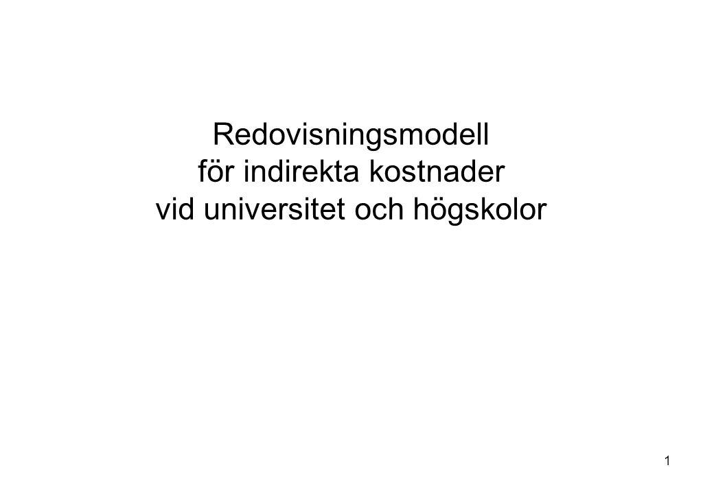 2 Innehåll Bakgrund Grundprinciper i modellen Syfte Problemställning Ny redovisningsmodell - centrala begrepp - kostnadsfördelning - intern finansiering - kalkylering Modellen på institutionsnivå Övergång till ny modell Övriga frågor