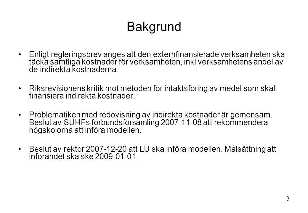 4 Grundprinciperna i modellen verksamheten delas in i kärnverksamhet och stödverksamhet kärnverksamheten delas in i avgränsade verksamheter, vilka kallas kostnadsbärare (kb) stödverksamhetens kostnader fördelas på kärnverksamhetens verksamhetsgrenar (utbildning och forskning) de gemensamma kostnaderna fördelas på kb genom fullständig kostnadsfördelning kostnadsbas tillämpas vid fördelning på kb (frångå intäktsavlyft) samtliga intäkter och kostnader ska fördelas på kb, vilket möjliggör uppföljning av full kostnadstäckning