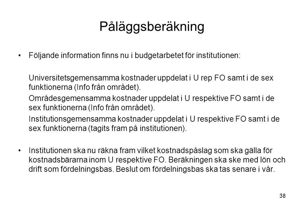 38 Påläggsberäkning Följande information finns nu i budgetarbetet för institutionen: Universitetsgemensamma kostnader uppdelat i U rep FO samt i de sex funktionerna (Info från området).