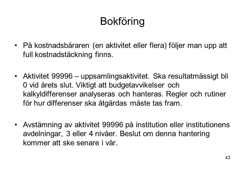 43 Bokföring På kostnadsbäraren (en aktivitet eller flera) följer man upp att full kostnadstäckning finns.