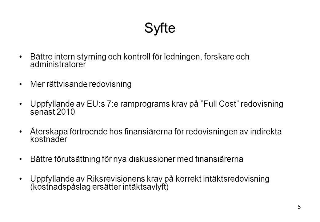 5 Syfte Bättre intern styrning och kontroll för ledningen, forskare och administratörer Mer rättvisande redovisning Uppfyllande av EU:s 7:e ramprograms krav på Full Cost redovisning senast 2010 Återskapa förtroende hos finansiärerna för redovisningen av indirekta kostnader Bättre förutsättning för nya diskussioner med finansiärerna Uppfyllande av Riksrevisionens krav på korrekt intäktsredovisning (kostnadspåslag ersätter intäktsavlyft)