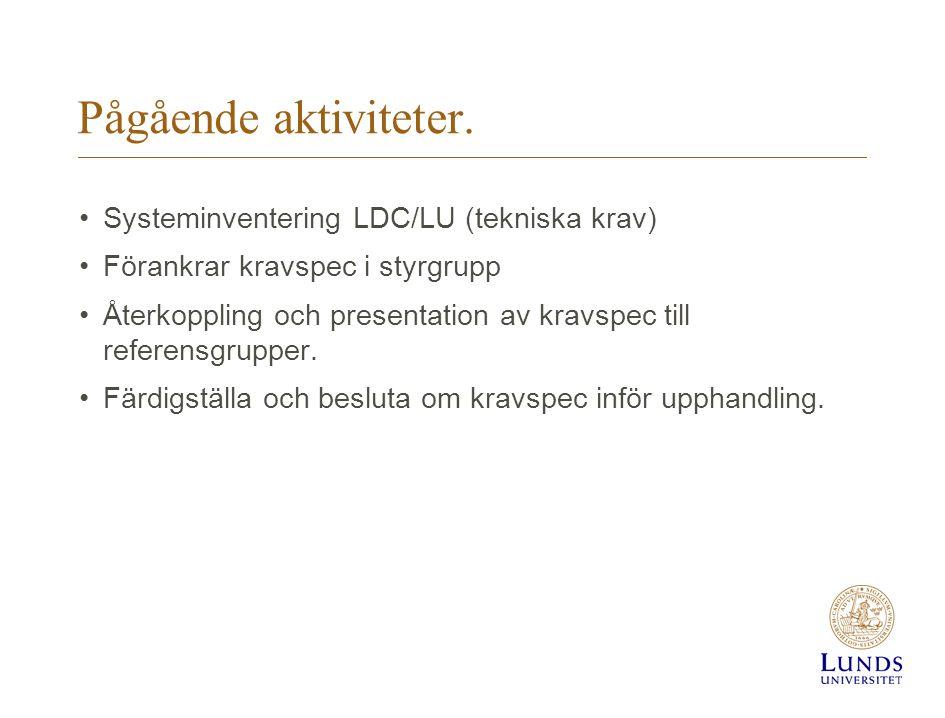 Pågående aktiviteter. Systeminventering LDC/LU (tekniska krav) Förankrar kravspec i styrgrupp Återkoppling och presentation av kravspec till referensg