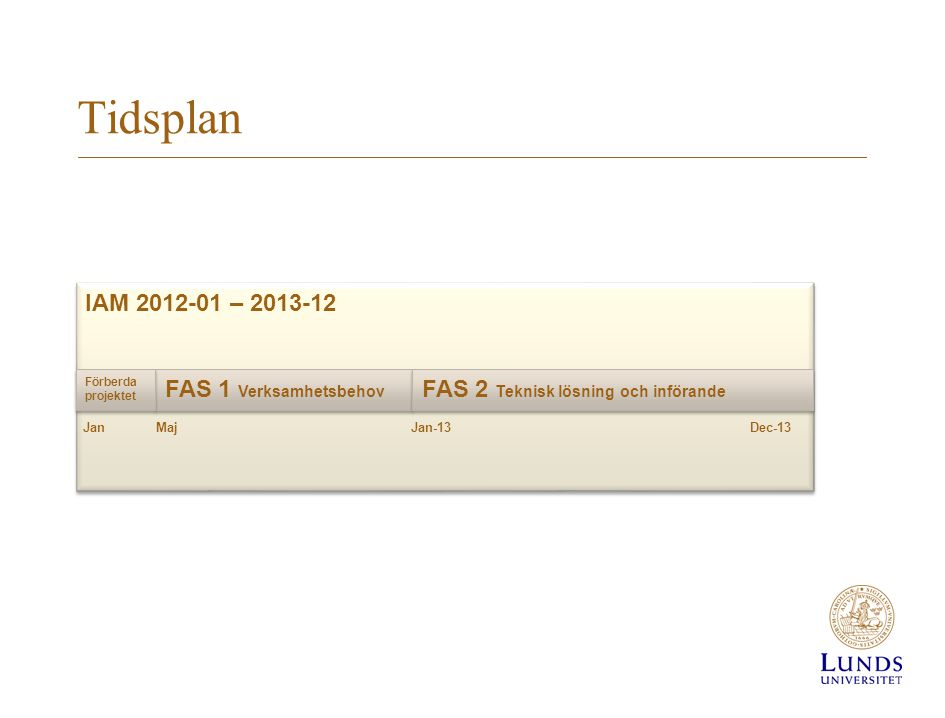 Tidsplan IAM 2012-01 – 2013-12 FAS 1 Verksamhetsbehov FAS 2 Teknisk lösning och införande Jan Maj Förberda projektet Jan-13Dec-13