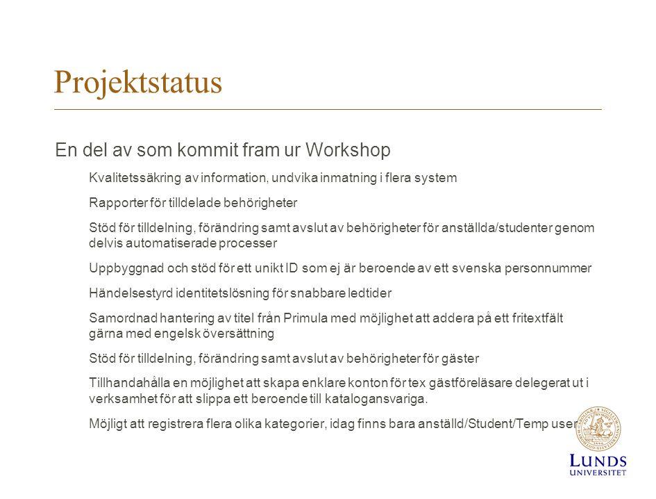 Projektstatus En del av som kommit fram ur Workshop Kvalitetssäkring av information, undvika inmatning i flera system Rapporter för tilldelade behörig