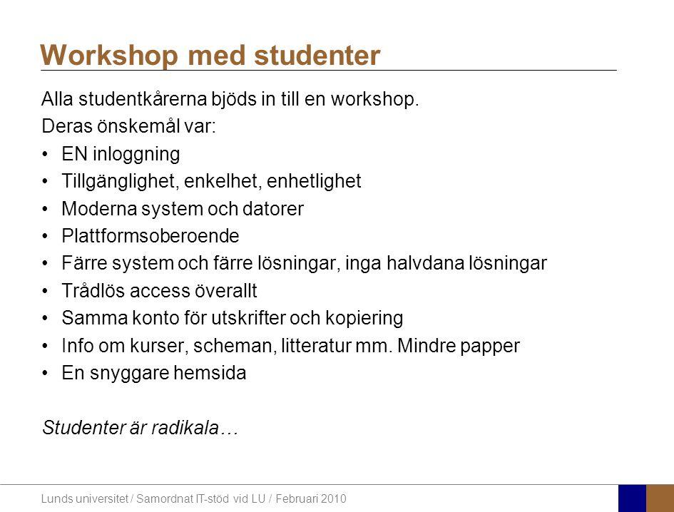 Lunds universitet / Samordnat IT-stöd vid LU / Februari 2010 Alla studentkårerna bjöds in till en workshop.