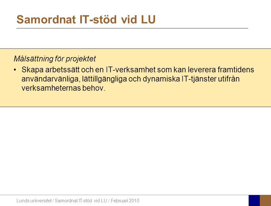 Lunds universitet / Samordnat IT-stöd vid LU / Februari 2010 Vad omfattar projektet?