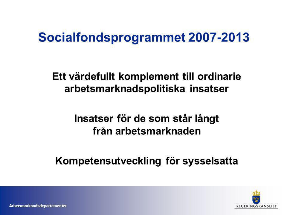 Arbetsmarknadsdepartementet Socialfondsprogrammet 2007-2013 Ett värdefullt komplement till ordinarie arbetsmarknadspolitiska insatser Insatser för de som står långt från arbetsmarknaden Kompetensutveckling för sysselsatta